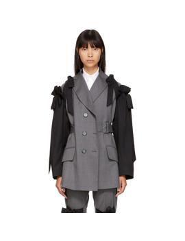 Grey & Black Bows Belted Blazer by Simone Rocha