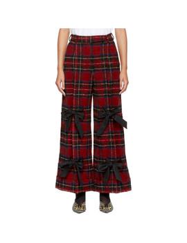 Red & Black Plaid Wide Leg Trousers by Simone Rocha