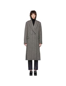 Black & White Wool Herringbone Coat by Stella Mccartney