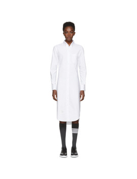 White Classic Button Down Point Collar Shirt Dress by Thom Browne