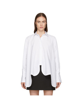 White Asymmetric Scalloped Shirt by Valentino