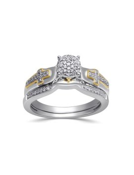 1/5 Carat T.W. Diamond 18kt Yellow Gold Over Silver Bridal Set by Forever Bride