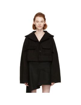 Black Cropped Raglan Jacket by Yohji Yamamoto