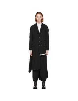 Black Right Waving Sleeve Blazer by Yohji Yamamoto
