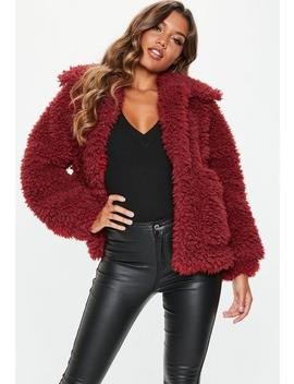 Tall Red Boxy Shaggy Borg Teddy Jacket by Missguided