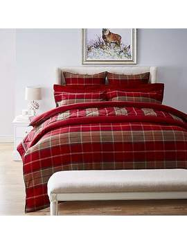 Dorma Livingston 100 Percents Brushed Cotton Red Duvet Cover And Pillowcase Set by Dunelm