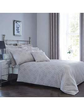 Geo Jacquard Grey Duvet Cover And Pillowcase Set by Dunelm