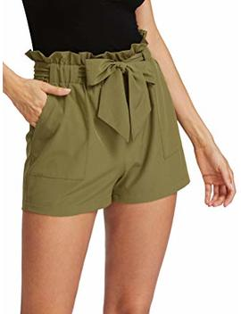 Romwe Women's Casual Elastic Waist Bowknot Summer Shorts Pockets by Romwe