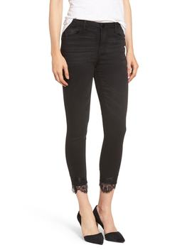 High Waist Lace Trim Ankle Skimmer Jeans by Wit & Wisdom