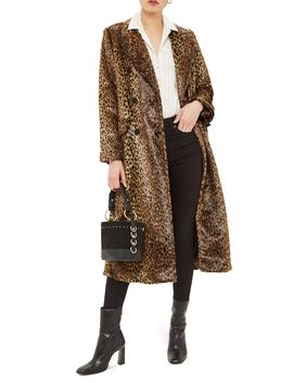 Toni Faux Fur Leopard Long Coat by Topshop
