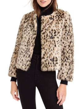 J. Crew Crop Faux Snow Leopard Fur Coat by J.Crew