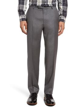 Leenon Flat Front Regular Fit Solid Wool Trousers by Boss
