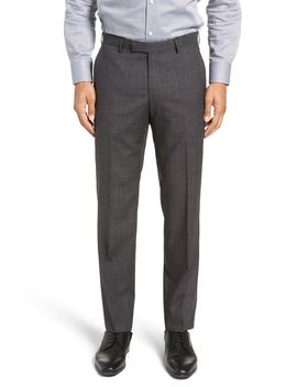 Leenon Flat Front Solid Wool Trousers by Boss