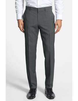 Genesis Flat Front Trim Fit Wool Trousers by Boss