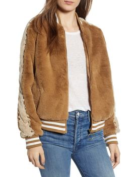 Letterman Faux Fur Jacket by Mother
