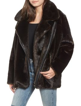 Oversize Faux Mink Fur Moto Jacket by Kendall + Kylie