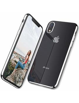 Dtto Case For I Phone Xr, Ultra Slim Soft Tpu Crystal Clear Case Cover For Apple I Phone Xr 6.1 Inch (2018 Released) With Reinforced Electroplate Edge Frame   [Lightweight] & [Anti Scratch], Silver by Dtto