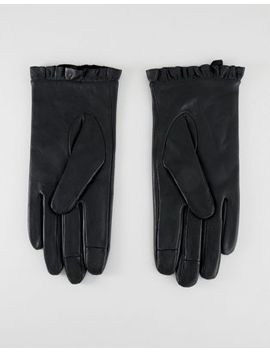 Asos Design Leather Ruffle Gloves by Asos Design