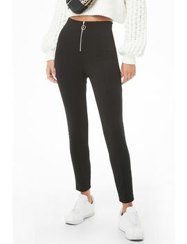 Zip Fly Knit Leggings by Forever 21