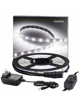Ustellar Dimmable Led Light Strip Kit, 300 Units Smd 2835 Le Ds, 16.4ft/5m 12 V Led Ribbon, 6000 K Daylight White Under Cabinet Lighting Strips, Non Waterproof Led Tape, Ul Listed Power Supply by Ustellar