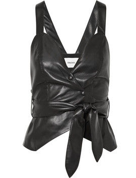 Levi Cropped Vegan Faux Leather Top by Nanushka