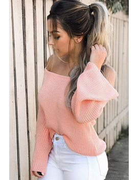 Coral Knitted Bardot Jumper   Jaden by Rebellious Fashion