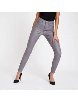Grey Coated Mid Rise Molly Jeggings by River Island