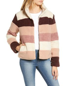 Stripe Faux Shearling Jacket by Bp.