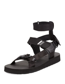 Men's Runway Nylon Strap Sandals, Black by Prada