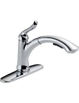 Linden Single Handle Pull Out Sprayer Kitchen Faucet With Multi Flow In Chrome by Delta