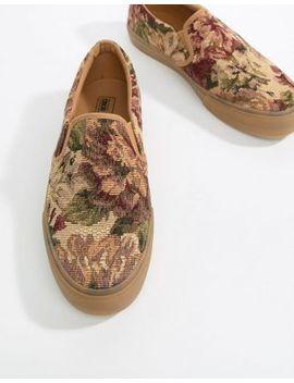 Asos Design – Sneaker Zum Hineinschlüpfen Mit Floralem Gobelinmuster Und Gummisohle by Asos Design