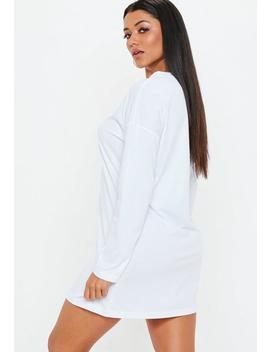 White Oversized T Shirt Zip Dress by Missguided