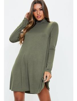 Khaki Roll Neck Swing Dress by Missguided