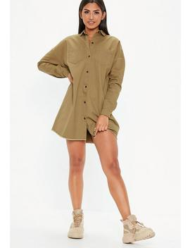 Khaki Oversized Utility Shirt Dress by Missguided
