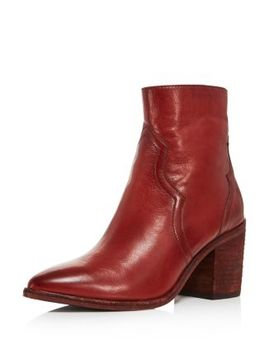 Women's Flynn Pointed Toe Leather High Heel Booties by Frye