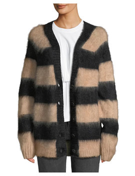 Striped Oversized Mohair Cardigan by T By Alexander Wang