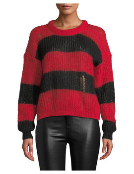 Gaby Striped Distressed Mohair Sweater by Zadig & Voltaire