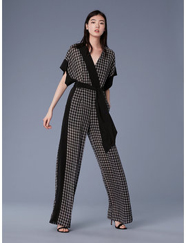 Short Sleeve Faux Wrap Jumpsuit by Dvf