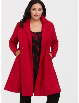 Red Fit & Flare Coat by Torrid