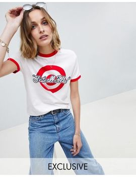 Reclaimed Vintage   Inspired   Looney Tunes   T Shirt à Liseré Contrastant by Reclaimed Vintage