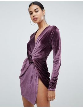 Club L Twist Front Long Sleeve Velvet Dress by Club L