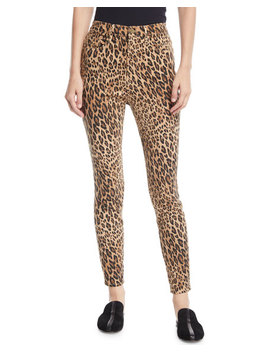 Ali High Rise Skinny Leopard Cigarette Jeans by Frame