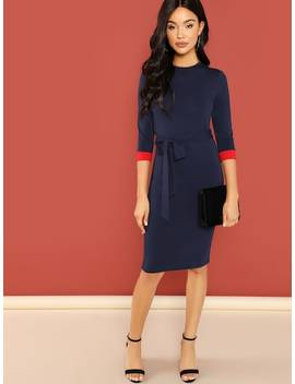 3/4 Sleeve Pencil Dress With Belt by Shein