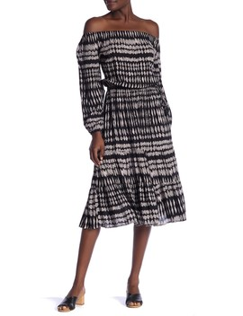 Off The Shoulder Printed Midi Dress by Love Stitch