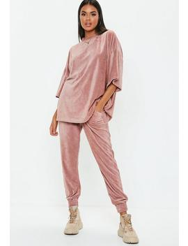 Rose Slim Leg Velour Joggers by Missguided
