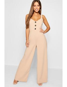 Petite Button Detail Wide Leg Jumpsuit by Boohoo