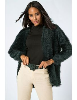Fluffy Curved Hem Cardigan by Select