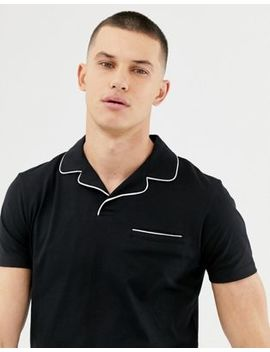 Asos Design Revere Polo Shirt With Pocket And Tipping In Black by Asos Design