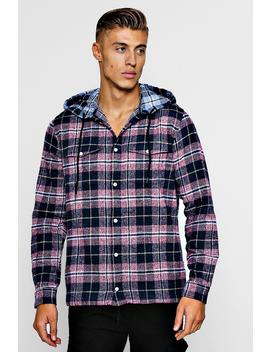 Check Flannel Long Sleeve Shirt With Hood by Boohoo