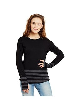 Hypernation Black And Grey Stripe Round Neck Thumb Insert Cotton T Shirt For Women by Hypernation